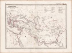 Nagy Sándor birodalma térkép, készült 1849-ben, francia, atlasz, eredeti, 32x45, történelmi, világ