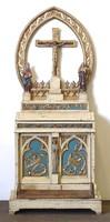 0U697 Antik imaszekrény oltár faragott szobrokkal