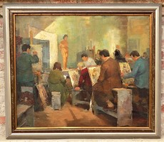 Hatalmas 115x100cm !! Fejes Gyula (1895 - 1956) Festőiskola c olajfestménye EREDETI GARANCIÁVAL !!!