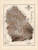 Hunyad megye térkép 1889 (3), Magyarország, vármegye, atlasz, Kogutowicz Manó, 43 x 56 cm, eredeti