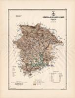 Gömör és Kis - Hont megye térkép 1889 (3), vármegye, atlasz, Kogutowicz Manó, 43 x 57 cm, Gönczy Pál
