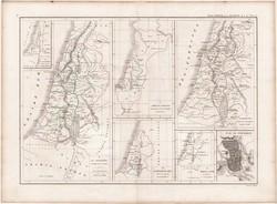 Palesztina térképek, készült 1860-ban, francia, atlasz, eredeti, 32 x 44, történelmi, Szentföld