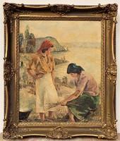 Tihanyi János Lajos (1892 - 1957) Balatoni életkép, c. olajfestménye 86x72cm EREDETI GARANCIÁVAL !!