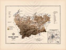 Szeben megye térkép 1889 (3), Magyarország, vármegye, régi, atlasz, eredeti, Kogutowicz, Nagyszeben
