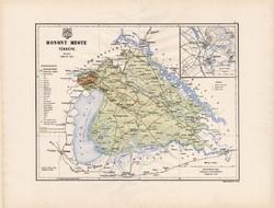 Mosony megye térkép 1886 (3), vármegye, atlasz, Kogutowicz Manó, 43 x 56 cm, Moson, Magyaróvár