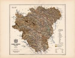 Sáros megye térkép 1887 (3), vármegye, atlasz, Kogutowicz Manó, 43 x 56 cm, Gönczy Pál, eredeti