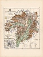 Abaúj - Torna megye térkép 1888 (3), vármegye, atlasz, Kogutowicz Manó, 43 x 57 cm, Gönczy Pál, régi