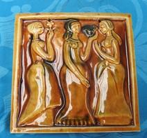 A három grácia - zsolnay pirogránit falikép