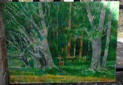 Gulyás Dénes : Őzike erdőben. Olaj,farost Mérete: 60x80 cm.