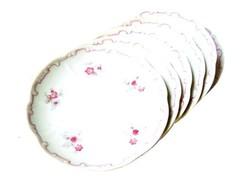 Antik Zsolnay barokk kistányér szett lila peremű apró virágos