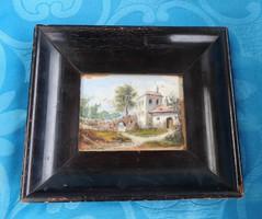 Antik biedermeier festmény eredeti vastag fakeretben