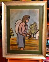 HAJDU Béla ART DECO nagyméretű pasztell festménye, kerettel 92,5 x 72 cm, jjl. Hajdu Béla