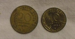 Francia pénz - érme (10 és 20 centimes)