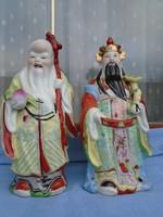 Nagy méretű Kínai figura párban  a bölcs és  a nemes 27,5 cm nem antik