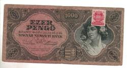 1000 pengő 1945 bélyeggel