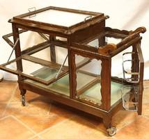 Neobarokk  zsúrkocsi csiszolt üvegekkel