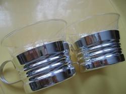2 db hőálló metszett pohár fényes tartóban egyben