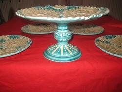 Schütz Czilli   szép gyümölcs kínáló készlete  , a tál 25 cm  ,tányérok 20 cm