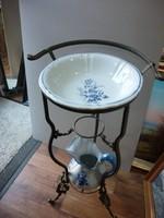 Delft mosdótál , kancsó , bronz tartó