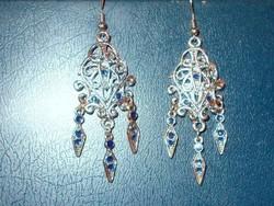 Cizellált Lapisz lazuli  Tibeti ezüst fülbevaló 7 cm!!
