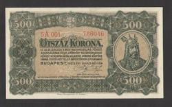 500 korona 1923. Magyar Pénzjegynyomda Rt. fb.!! UNC!! RITKA!!