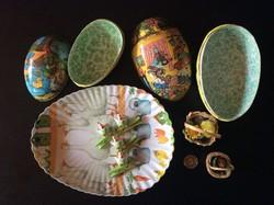 Retró Húsvéti papírmasé tojás patika állapotban + ajándék