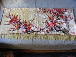 Cseresznye virágos bársonyos mokett falikárpit 115 x 49 cm