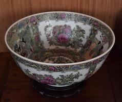 Antik, kínai famille rose tál! 31 cm!