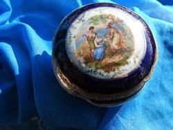 Antik barokk  jelenetes kobaltkék és aranyfestéses Altwien bonbonier