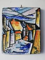 Utcarészlet színes kedves magyar kerámia fali kép 18x15 Iparművészeti Vállalat