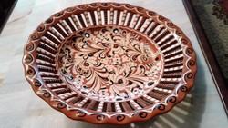 Nagyméretű népi kerámia fali dísz tányér 30 cm