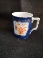 Szép lüsztermázas kék barokk porcelán mokkacsésze Altwien stílusú, hibátlan, jelzetlen