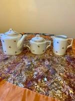 Antik  Zsolnay 3 darabos pajzspecsétes aranyozott nagyméretű teás készlet az 1930 -as évekből