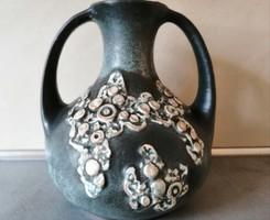 Hatalmas kétfüles különleges kerámia váza, korsó