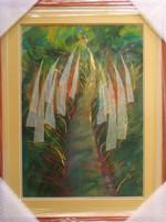 """Illényi Tamara """"Út"""" c. különleges selyemakvarell keretezve, üveg alatt ingyen postázással eladó!"""