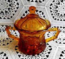 Borostyán színű cseh öntött üveg cukortartó