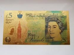 Aranyozott színes Angol 5 font  UNC további bankjegyek a kínálatomban!