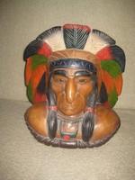 Indián fej   Canadából ,  nívós  fa faragás