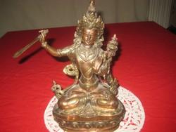 Budha  ,vörös és sárga rézből   ,nagyon szép keleti kézi munka  22  cm
