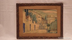 Akvarell festmény utcakép