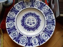 Különleges horoszkópos nagyméretű porcelán falitányér 33 cm kék fehér
