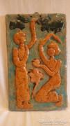 Iparművész samott falikép Ádám és Éva