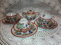 Japán tojáshéj porcelán teás szett, cukortartóval,süteményes tányérral.
