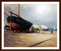 Csónakok és hajók - mesés olajfestmény ( 62.5 x 51.5, keret nélkül )