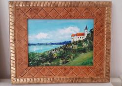 Tihany-Balaton festmény új- ajándék képkerettel!