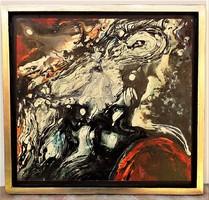 Rác András (1926-2013) hidegzománc kompozíció 57x55 cm. EREDETI GARANCIÁVAL !