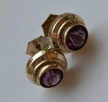 Antik ametiszt köves arany fülbevaló /mesterjelzett/