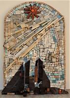 Rác András (1926-2013) Mozaik relief 62x45cm Kompozíció 2007 c. EREDETI GARANCIÁVAL !
