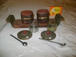 Retro, tündéri asztali fűszeres, só, bors tartó szett, pici kanalakkal