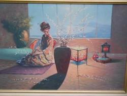 1959-es  megfejtésre váró festmény.Gésa az ablaknál.Nyugalmat árasztó szép festmény.